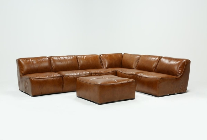 "Burton Leather 3 Piece 132"" Sectional With Ottoman - 360"