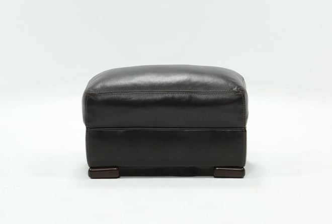 Grandin Blackberry Leather Ottoman - 360