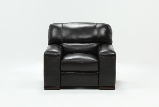 Grandin Blackberry Leather Chair - 360