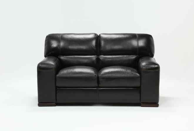 Grandin Blackberry Leather Loveseat - 360
