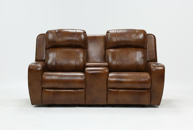Phelps Leather Power Reclining Console Loveseat With Power Headrest & USB - 360