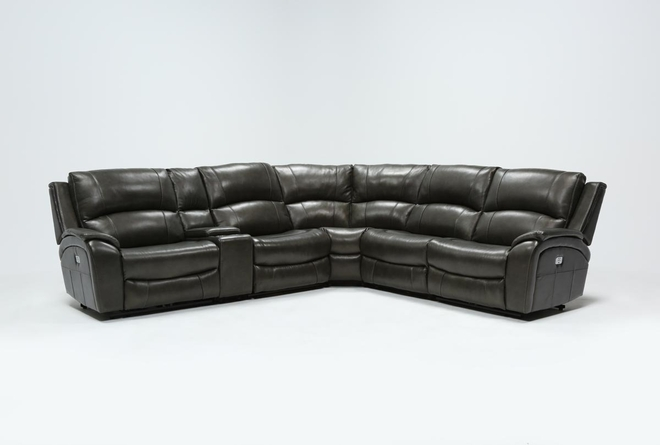 "Travis Dark Grey Leather 6 Piece 135"" Power Reclining Sectional With Power Headrest & USB - 360"
