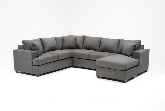 "Kerri Charcoal 2 Piece 126"" Sectional With Right Arm Facing Chaise - 360"
