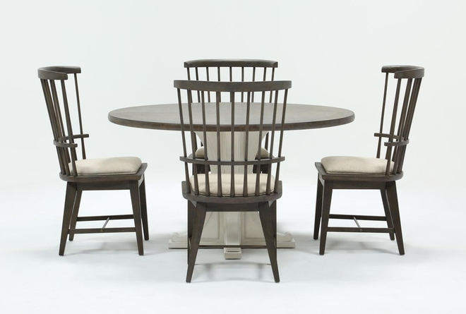 Candice II 5 Piece Round Dining Set With Slat Back Side Chairs - 360