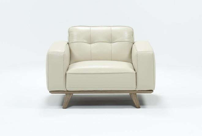 Caressa Leather Dove Grey Chair - 360