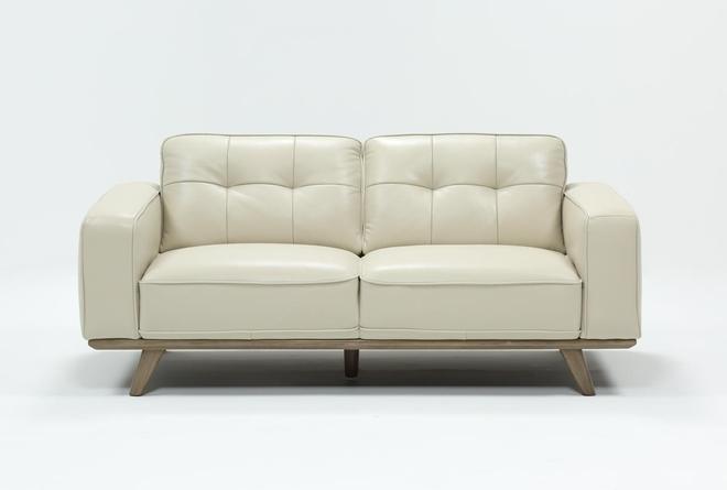 Caressa Leather Dove Grey Loveseat - 360