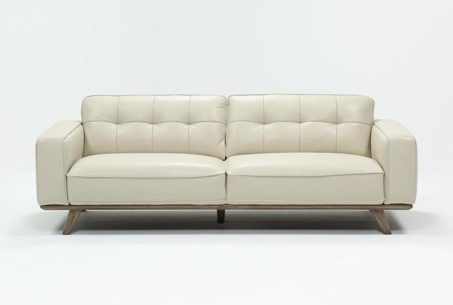 Caressa Leather Dove Grey Sofa - 360
