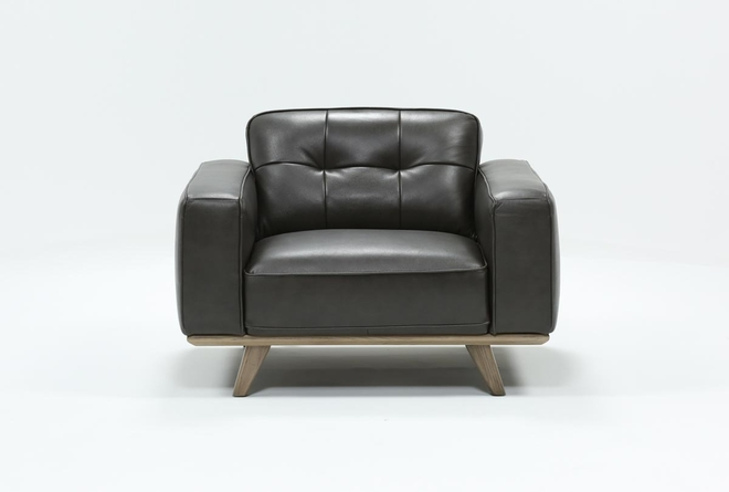 Caressa Leather Dark Grey Chair - 360