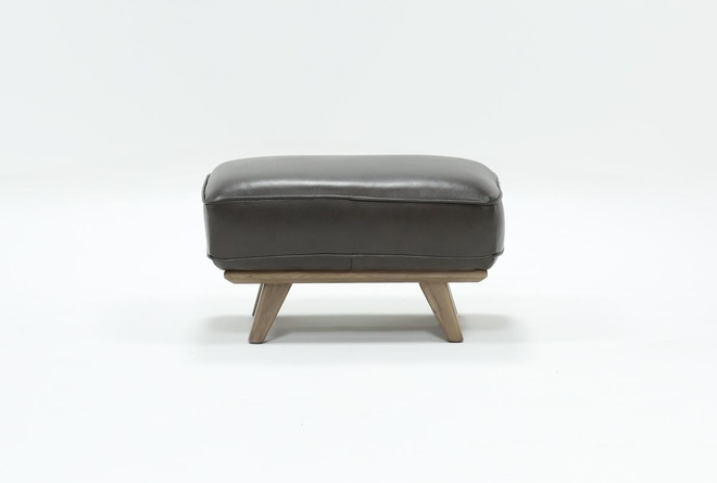Caressa Leather Dark Grey Ottoman - 360