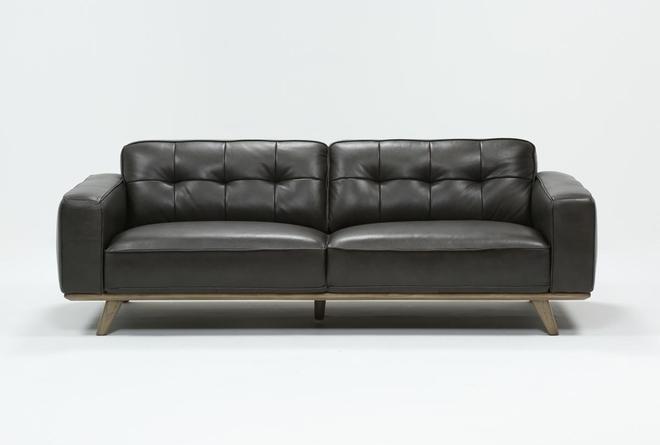 Caressa Leather Dark Grey Sofa - 360