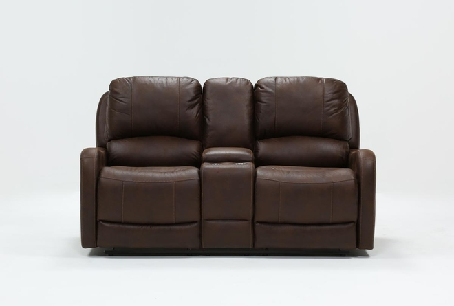 "Davor Brown 70"" Power Reclining Loveseat With Console - 360"