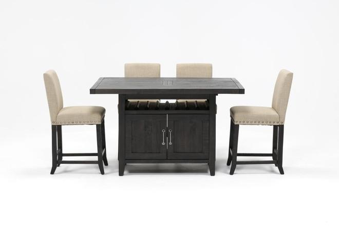 Jaxon 5 Piece Extension Counter Set W/Fabric Stools - 360