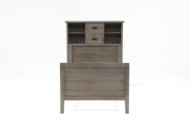 Owen Grey Twin Bookcase Bed W/No Storage - 360