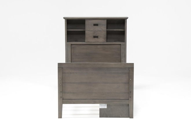 Owen Grey Twin Bookcase Bed With Single 2-Drawer Storage Unit - 360
