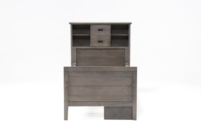 Owen Grey Twin Bookcase Bed W/Single 4-Drawer Storage Unit - 360