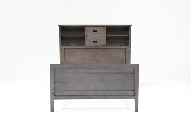Owen Grey Full Bookcase Bed With No Storage - 360