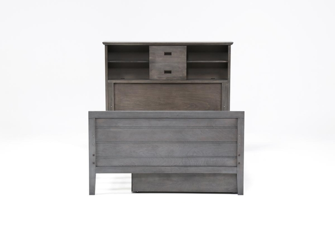 Owen Grey Full Bookcase Bed With Trundle Storage - 360