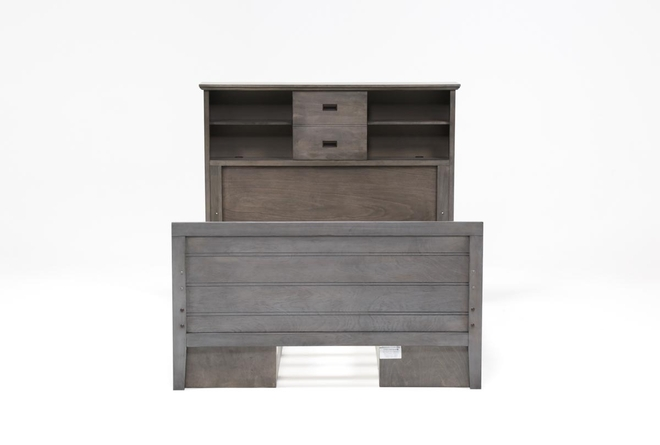 Owen Grey Full Bookcase Bed With Double 2-Drawer Storage Unit - 360