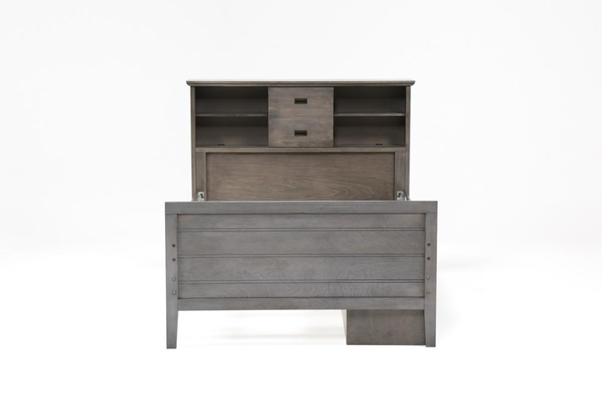 Owen Grey Full Bookcase Bed With Single 4-Drawer Storage Unit - 360