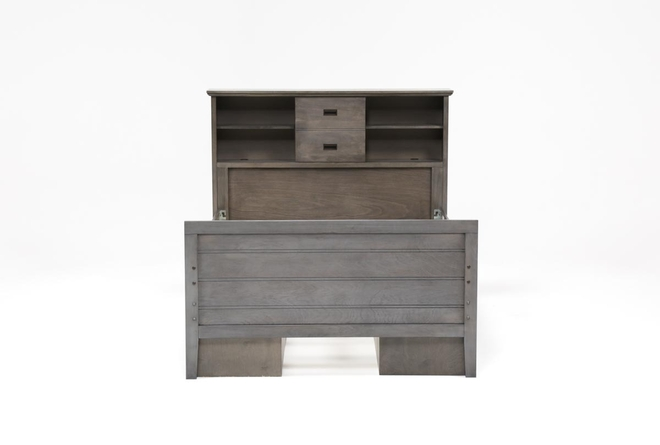 Owen Grey Full Bookcase Bed With Double 4-Drawer Storage Unit - 360