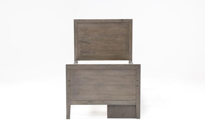 Owen Grey Twin Panel Bed W/Single 4-Drawer Storage Unit - 360