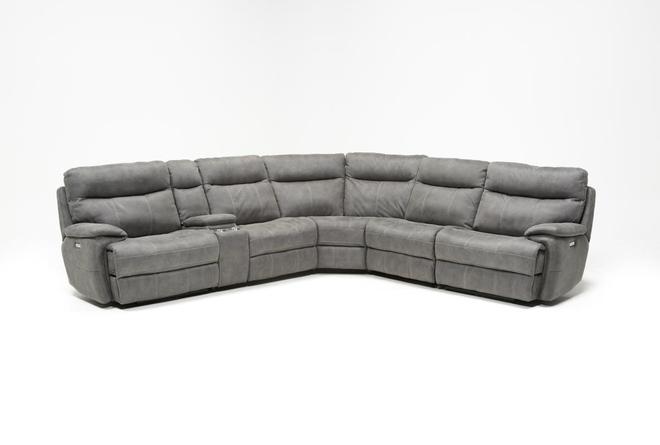 Denali Light Grey 6 Piece Reclining Sectional With 2 Power Headrests - 360