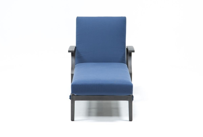 Martinique Navy Outdoor Chaise Lounge - 360