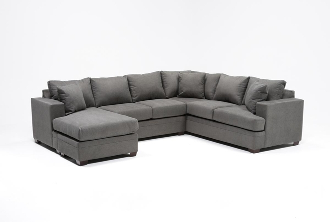 "Kerri Charcoal 2 Piece 126"" Sectional With Left Arm Facing Chaise - 360"