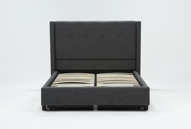 Damon Charcoal Eastern King Upholstered Platform Bed With Storage - 360