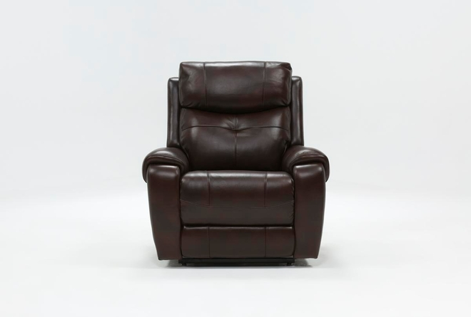 Carl Chocolate Leather Power Lift Recliner With Power Headrest - 360