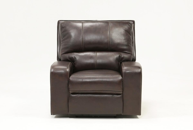 Clyde Dark Brown Leather Power Recliner W/Power Headrest & Usb - 360