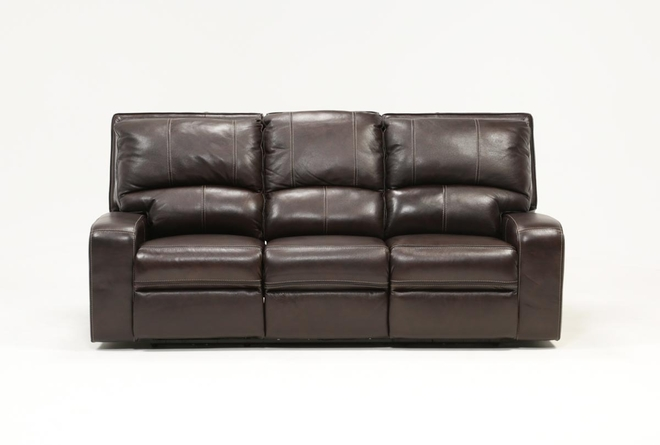 Clyde Dark Brown Leather Power Reclining Sofa W/Power Headrest & Usb - 360