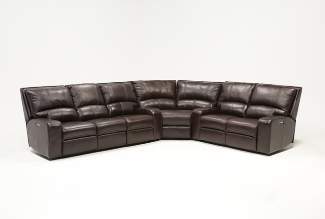 Clyde Dark Brown 3 Piece Power Reclining Sectional W/Pwr Hdt & Usb - 360