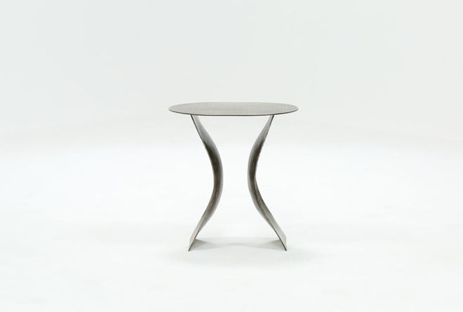 Antique Nickel Curved Accent Table - 360