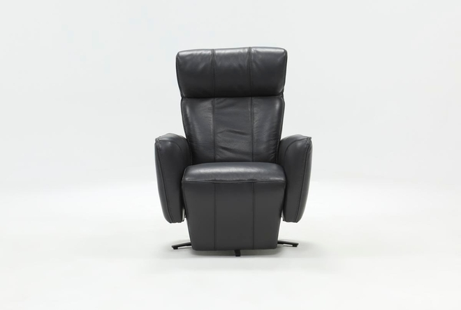 Jules Slate Leather Swivel Power Recliner With Adjustable Headrest & Built-In Battery - 360