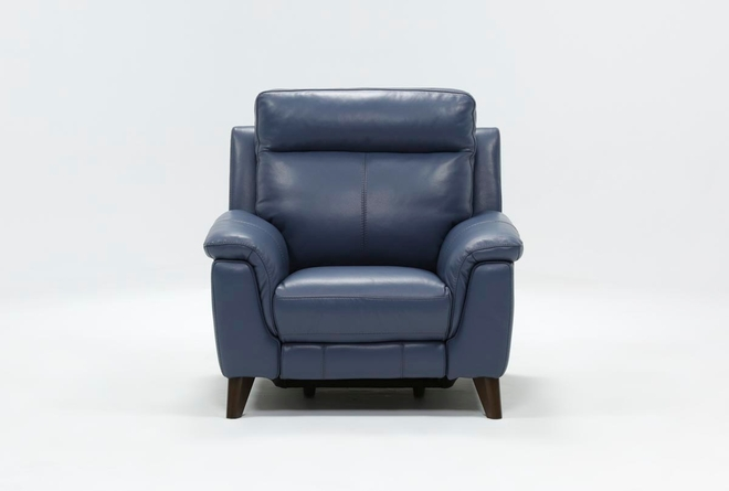 Moana Blue Leather Power Reclining Chair With Usb - 360
