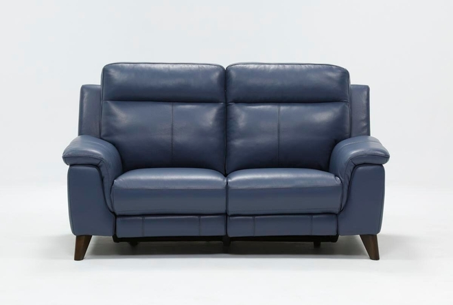 "Moana Blue Leather Dual 70"" Power Reclining Loveseat With Usb - 360"