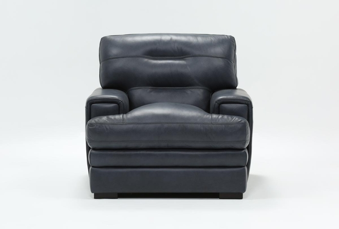 Gina Blue Leather Chair - 360