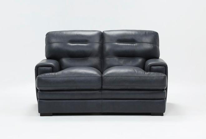 Gina Blue Leather Loveseat - 360