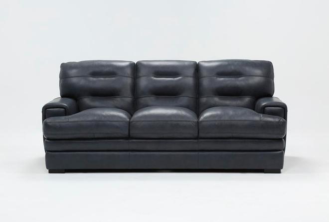 Gina Blue Leather Sofa - 360