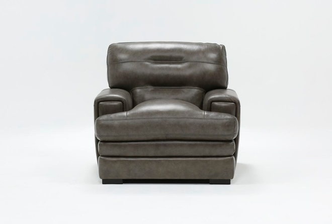 Gina Grey Leather Chair - 360