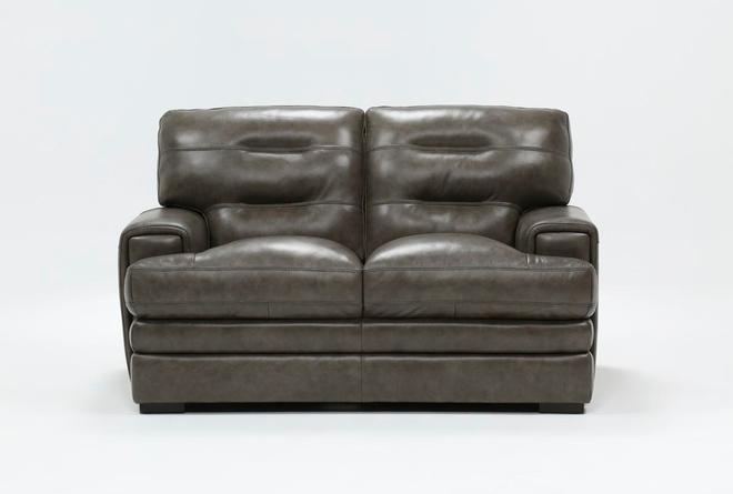 Gina Grey Leather Loveseat - 360
