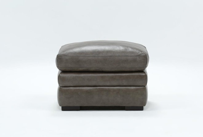 Gina Grey Leather Ottoman - 360