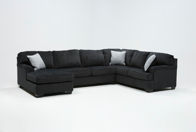 "Calvin Slate 3 Piece 137"" Sectional with Left Arm Facing Chaise - 360"