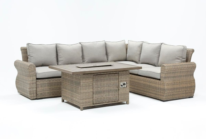 Malta Outdoor Firepit Banquette Lounge - 360