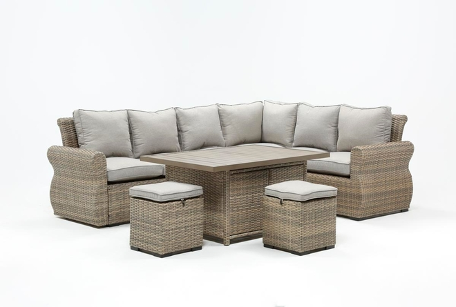 Malta Outdoor Storage Banquette Lounge With 2 Ottomans - 360