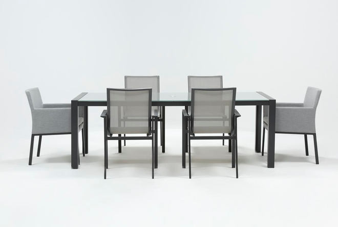 Ravelo Outdoor 7 Piece Dining Set With Sling And Upholstered Chairs - 360