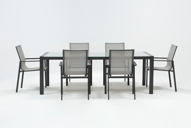 Ravelo Outdoor 7 Piece Dining Set With Sling Side Chairs - 360