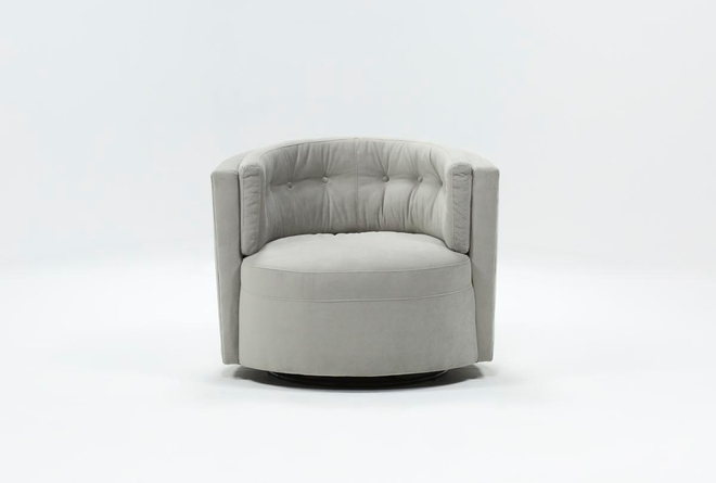 Aidan II White Swivel Accent Chair - 360