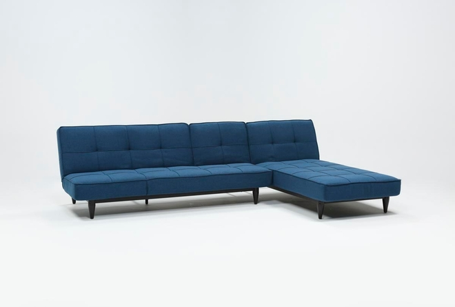 Paige Blue Convertible Sofa And Chaise - 360
